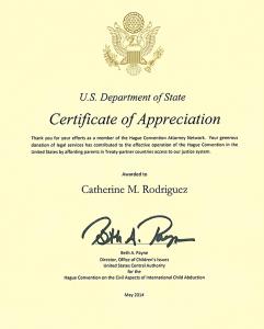 Hague Convention Certificate of Appreciation