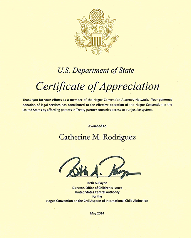 Hague Convention Certificate of Appreciation - divorce attorney